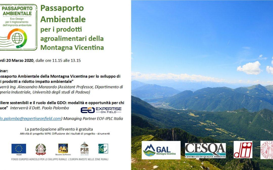 PASSAPORTO AMBIENTALE per i prodotti agroalimentari della Montagna Vicentina
